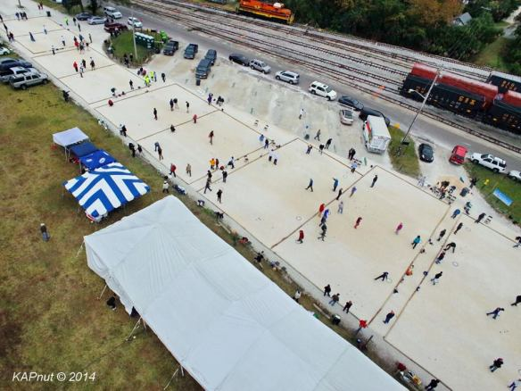 Bird's-eye view of part of the Petanque America Open.