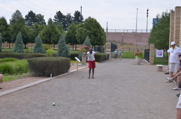 Petanque on public walking paths in Centennial Garden, Denver, Colorado, USA